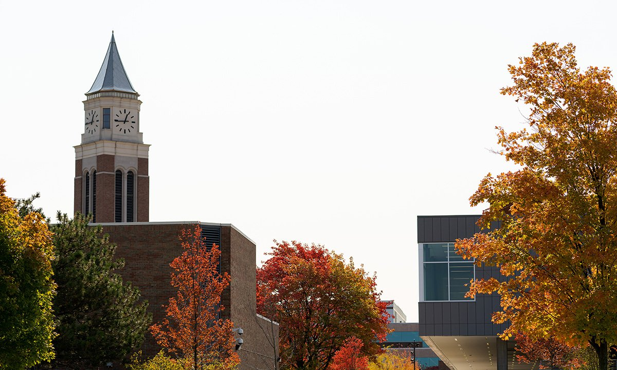 Campus buildings and fall leaves