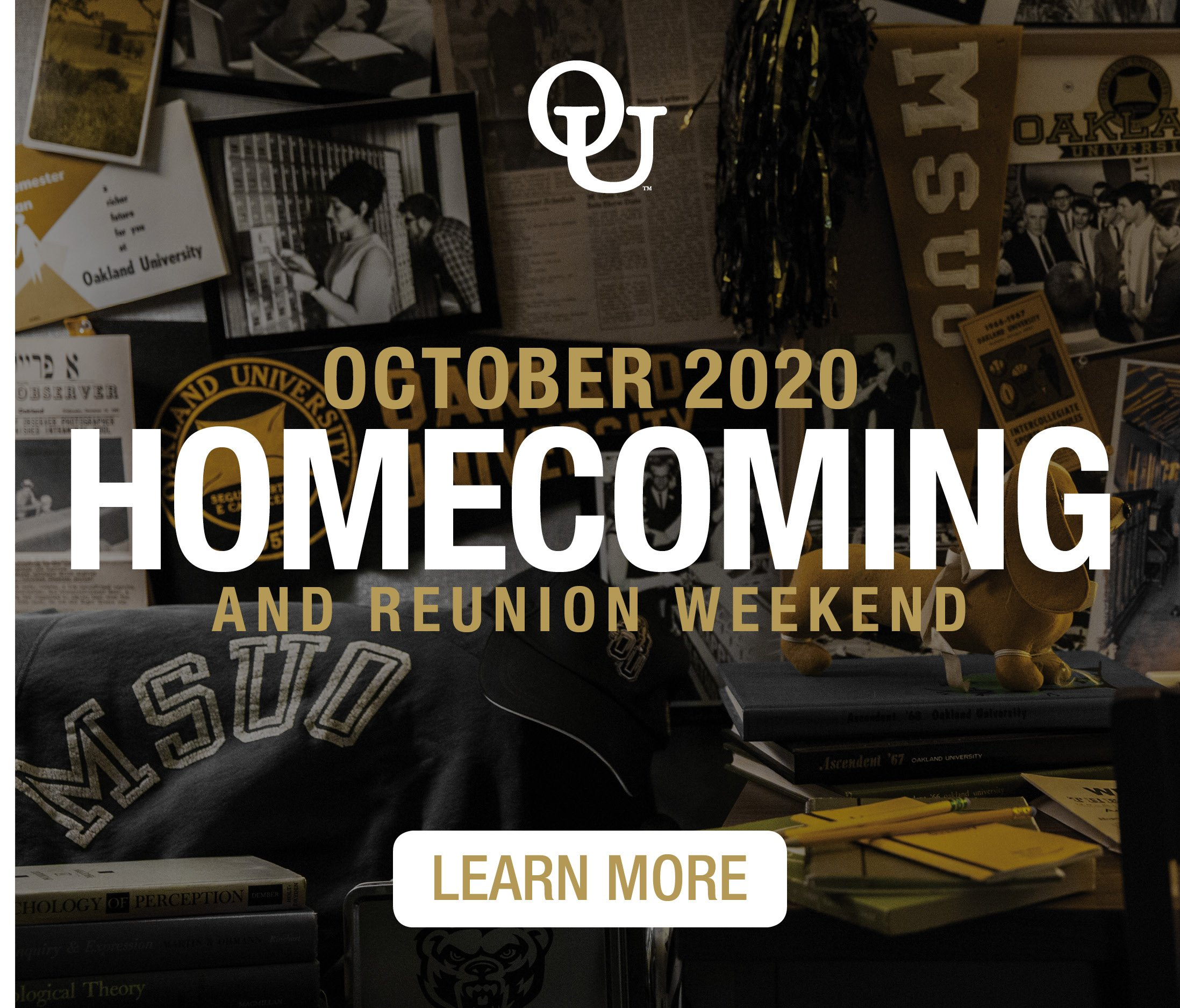 Links to O U Homecoming webpage. Text reads - October 2020 homecoming and reunion weekend. Learn more.