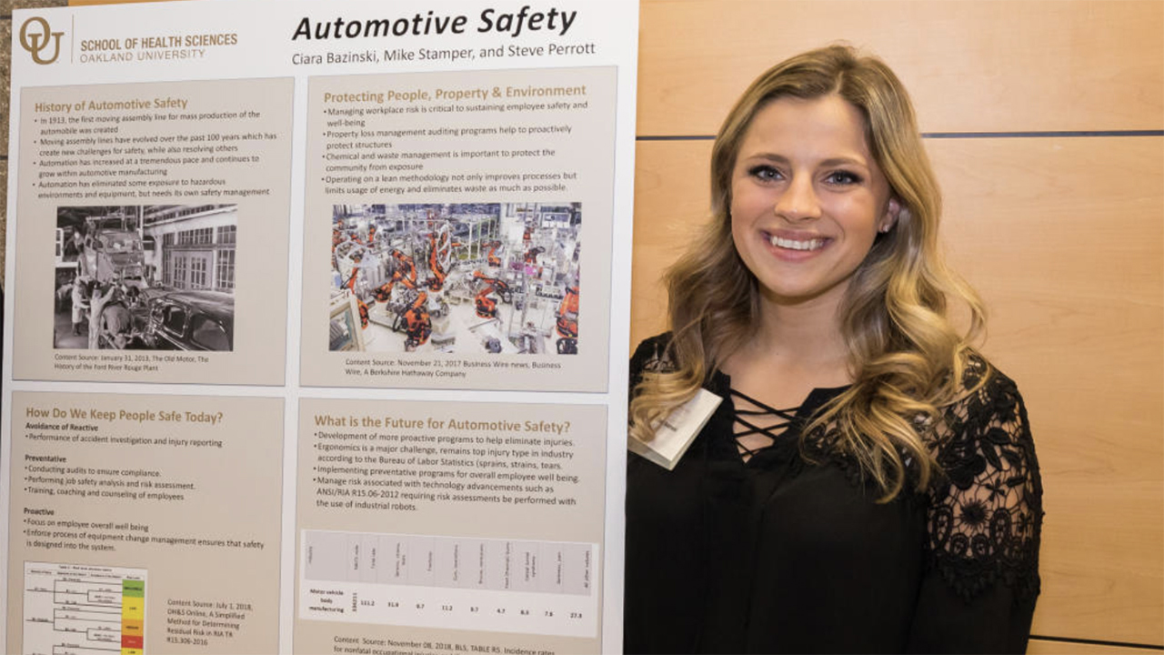OU EHS student Ciara Bazinski awarded 2020 scholarship by Michigan Safety Conference