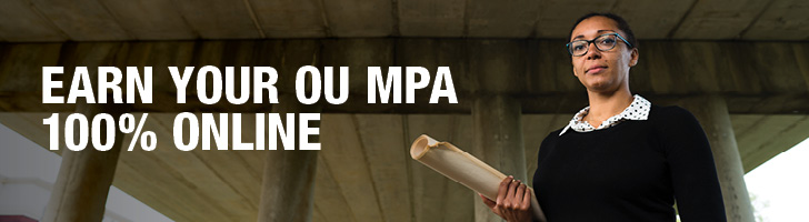 "image of a girl standing under a bridge holding a roll of paper with the text ""Earn Your OU MPA 100% Online"""