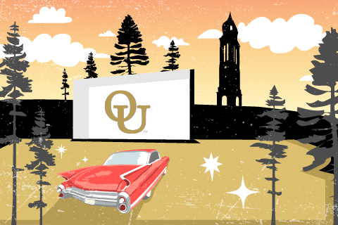 A graphic image of a red car at a drive-in with the O U interlocking logo on a white screen.