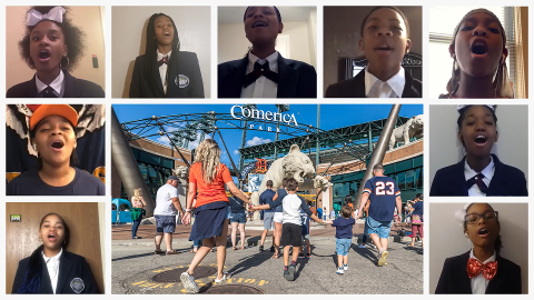 Images of kids singing on webcams, surrounding an image of Comerica Park in Detroit.
