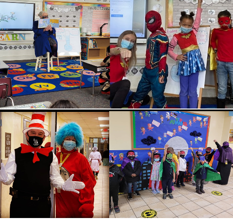 A photo college that includes teachers reading to kids, kids dressed as super heroes and adults in Dr. Seuss themed costumes.