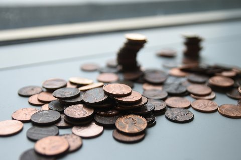 a photo of pennies on a flat surface