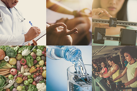 Compilation of photos including a doctor writing on a clipboard, someone meditating, someone weighing themselves, vegetables, water pouring into a glass, and people working out