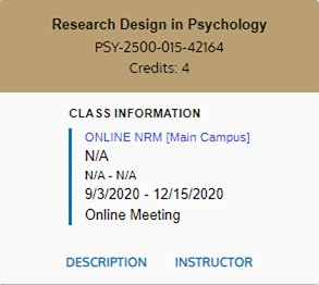 Example image of a traditional online course listing when viewing your schedule in MySail.