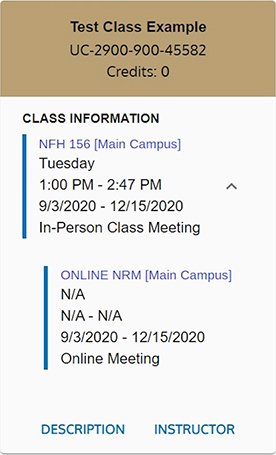 Example image of an in-person and traditional online hybrid course listing when viewing your schedule in MySail.