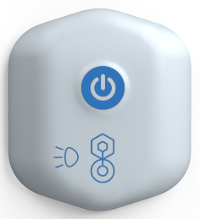 A white button with a blue power button on it and two additional symbols.