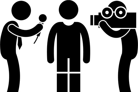 three graphic figures, one with a microphone, one with a camera, one standing in the middle