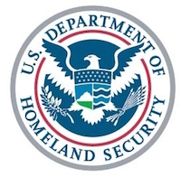 U.S. Department of Homeland Security seal, blue and white eagle with open wings