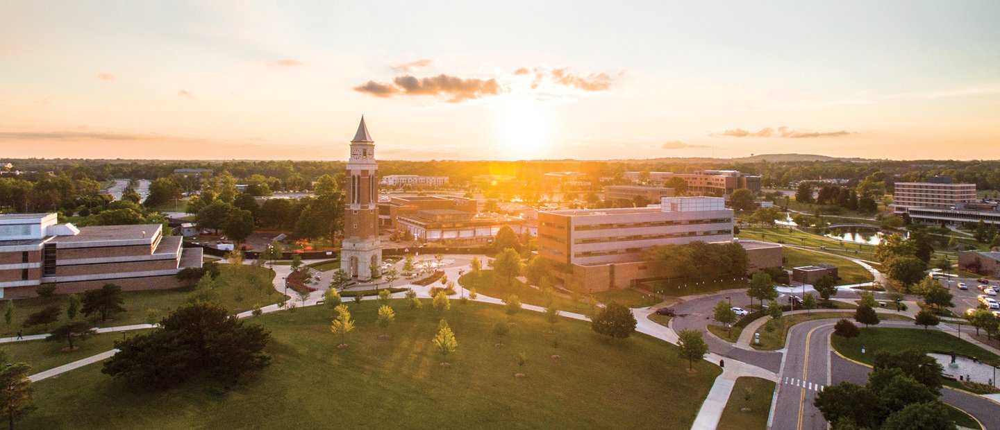 Aerial photo Oakland University with the sun coming up