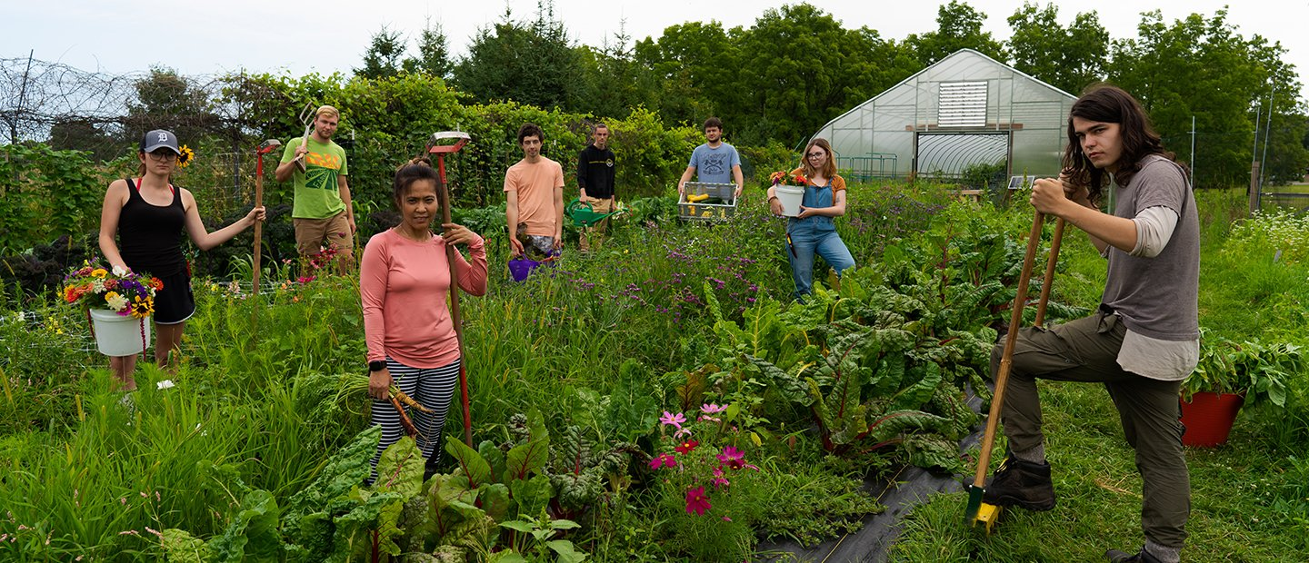 Group of people standing in a field of plants, holding gardening tools.