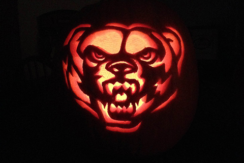 Jack-o-lantern carved with the Grizz head